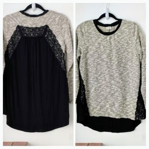 Lori Goldstein beige and black sweater size S